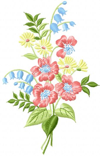 Bouquet free machine embroidery design my elna