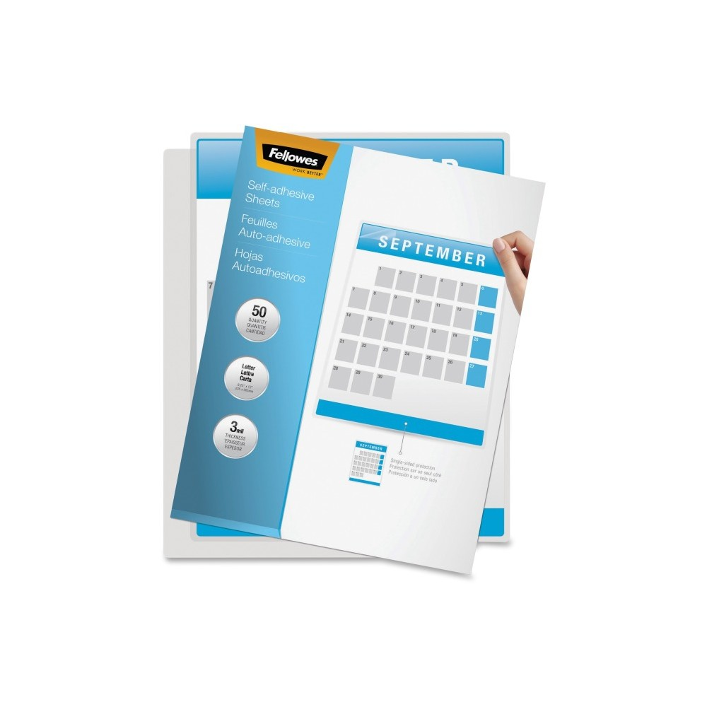 Fellowes Self Adhesive Laminating Sheets Letter 3mil 50 Pack Clear Adhesive Lettering Self