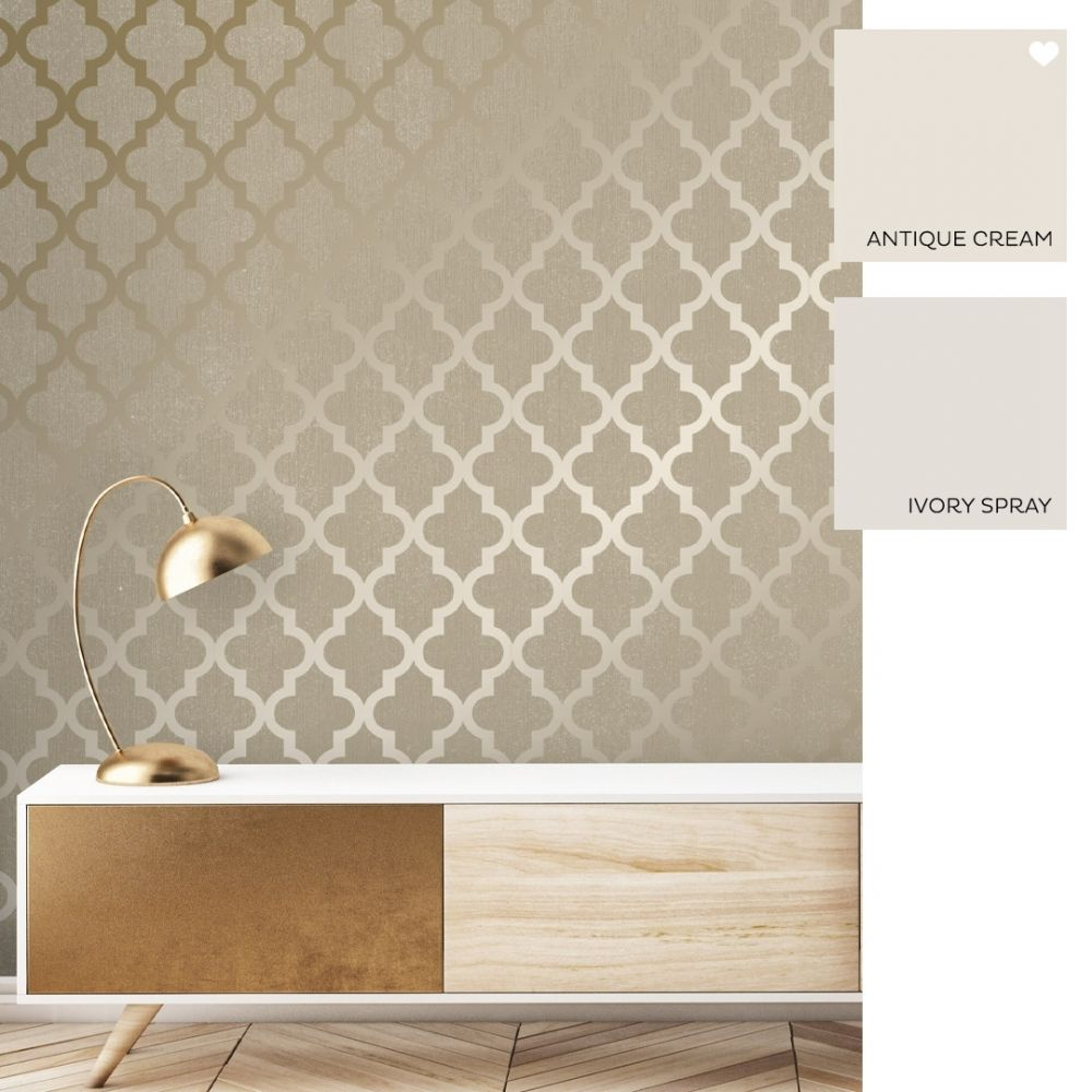 Camden Trellis Wallpaper Cream Gold Trellis Wallpaper