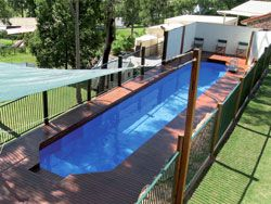 Above Ground Lap Pool in 2019 | Backyard pool landscaping ...