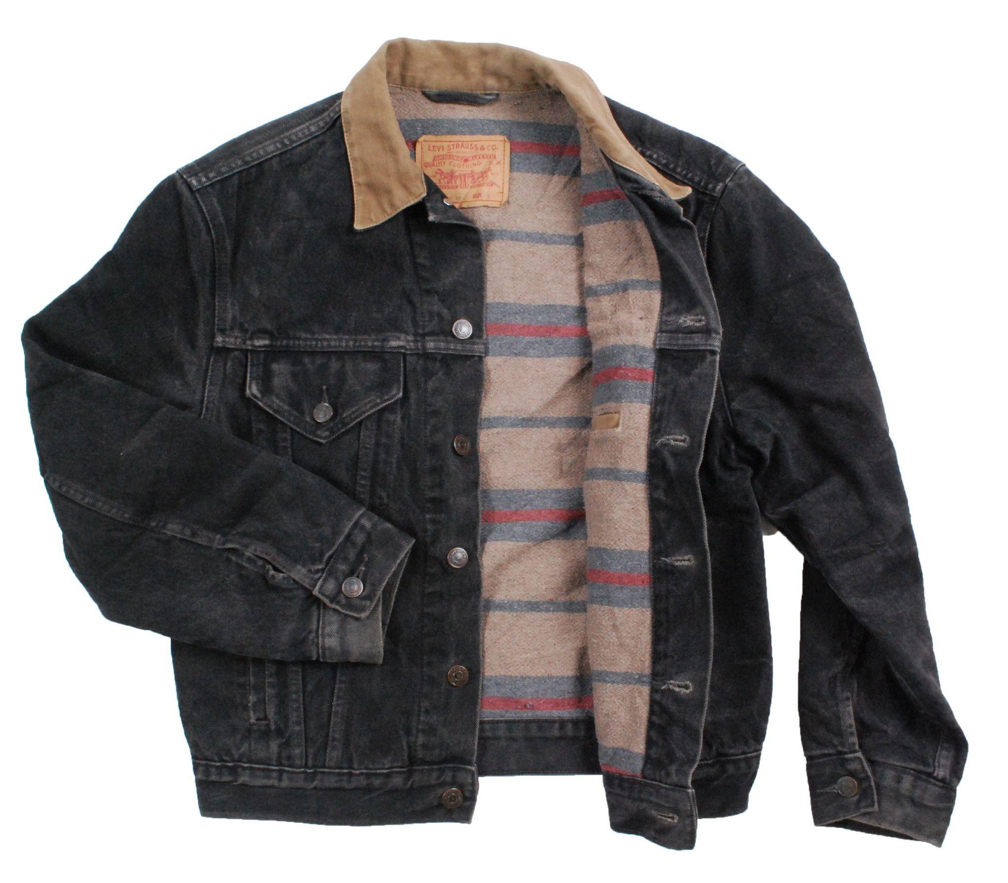 88e901a3 Vintage Black Blanket lined Levi 70602 02 denim jean jacket - Small ...