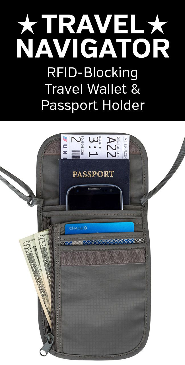 1976fccc16e0 RFID-Blocking Neck Travel Wallet and Passport Holder from Travel ...