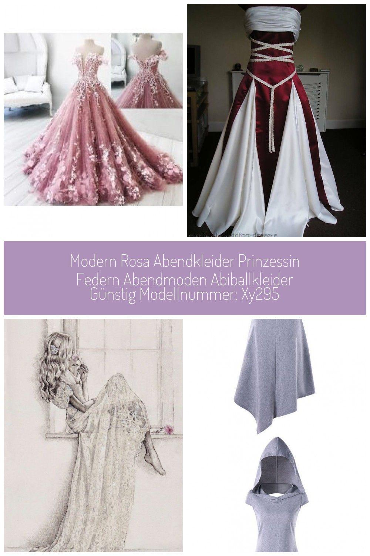 Modern Rosa Abendkleider Prinzessin Federn Abendmoden
