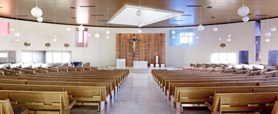 An energy-efficient modern church references Utah's mining history
