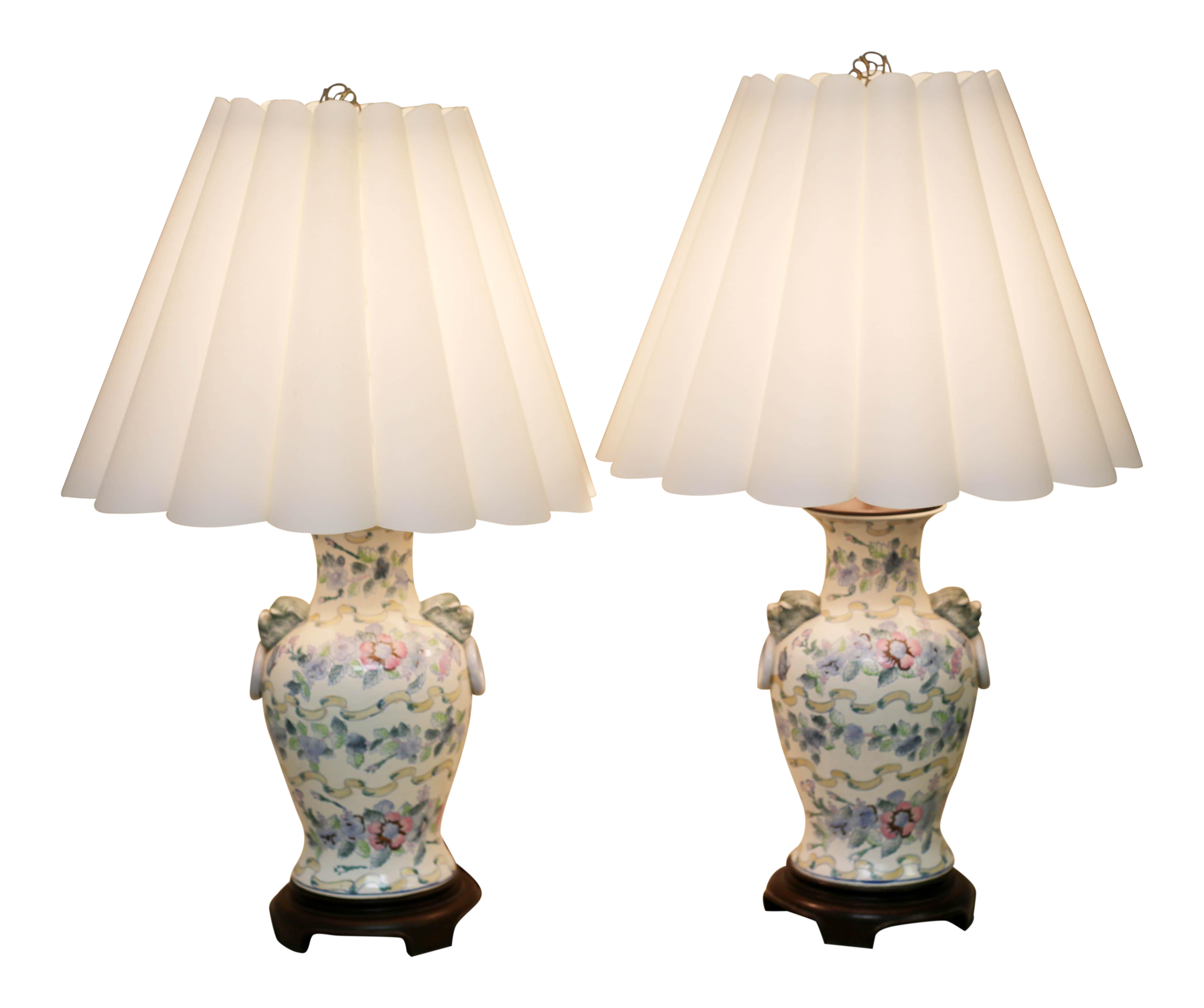 Vintage Ginger Jar Lamps With Foo Dog Handles By Toyo A Pair On
