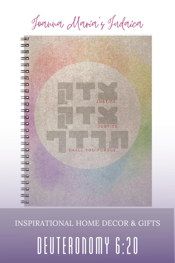 Justice Shall You Pursue Hebrew Biblical Verse Notebook Zazzle Com Bible Quotes Justice Biblical Verses English Quotes