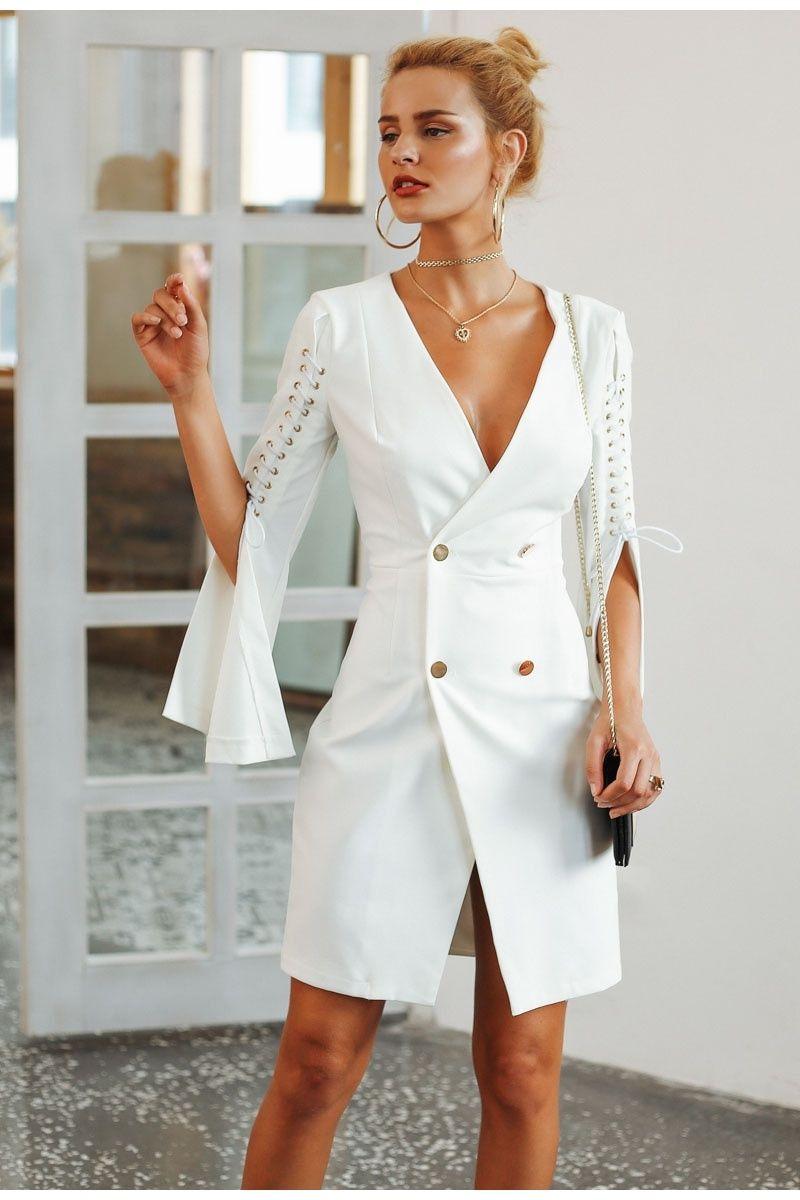 a06d6059d5 Elegant Office Flare Sleeve Blazer Dress for Women in 2019 | Women's ...