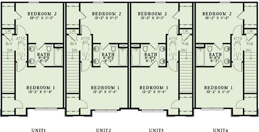 Upper Floor Plan 4 Plex Multifamily House Plan Ndg 1357 Quarters Per Unit 1 053 Sq Ft 2 Family House Plans Narrow Lot House Plans Town House Plans