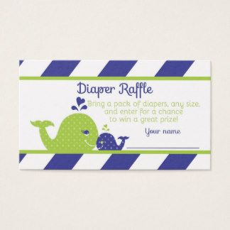 PRINTED Preppy Navy Blue and Green Whale Baby Shower Diaper Raffle Tickets from DoodleLulu by 2 june bugs
