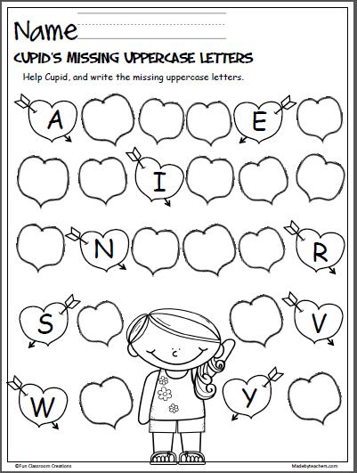 cupid s missing letters for valentine 39 s day kindergarten february kindergarten books. Black Bedroom Furniture Sets. Home Design Ideas