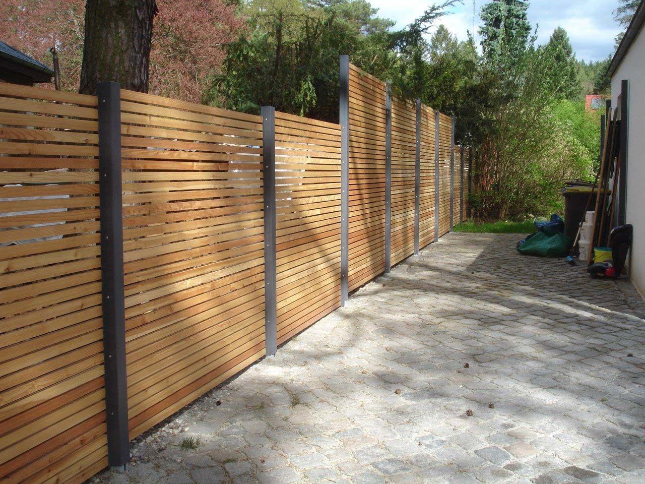 Design Sichtschutz Zaun Blickdicht Aus Metall Holz