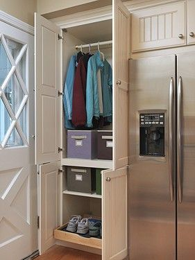 Handy Closet Cabinet Near The Back Door Leading Into A Kitchen With No Mud