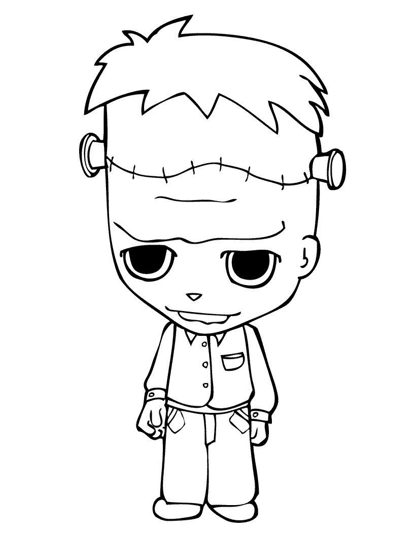 Dibujos para colorear de Halloween - Teo disfrazado de Frankenstein ...