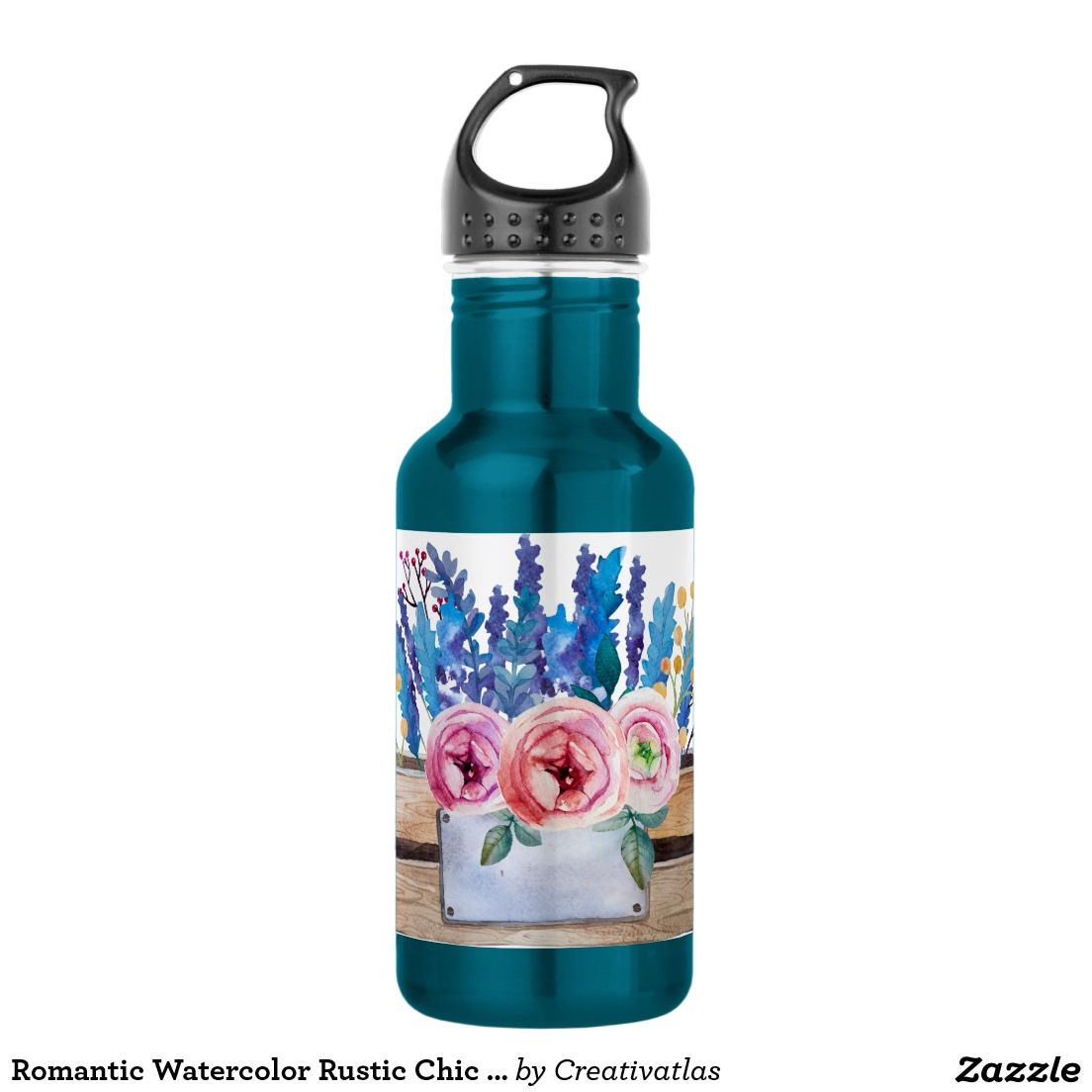 Blue Pink Brown Yellow Watercolor Floral Bouquet Stainless Steel ...