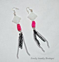 """Gemstone & Chain Tassel Earrings / Silver and Black Chain Tassel Earrings / Gemstone Earrings / Pink and White Earrings / Women Earrings /4"""""""