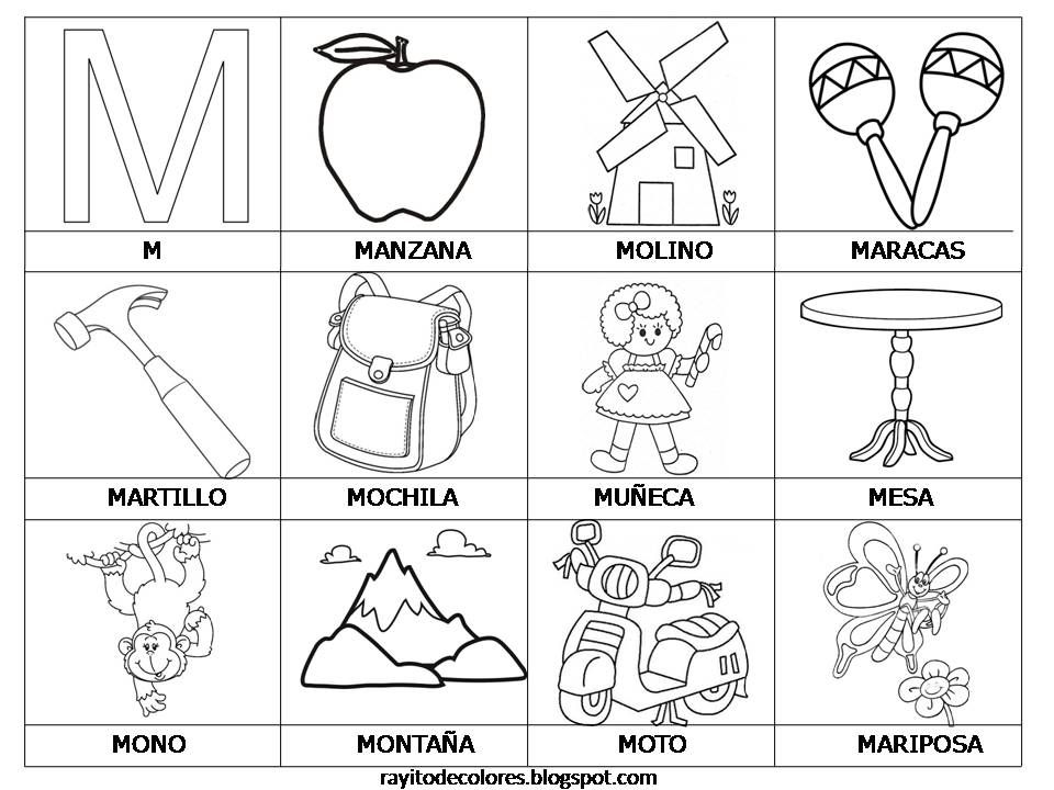 Spanish Word Cards for Kindergarten  palabras con m ma me mi