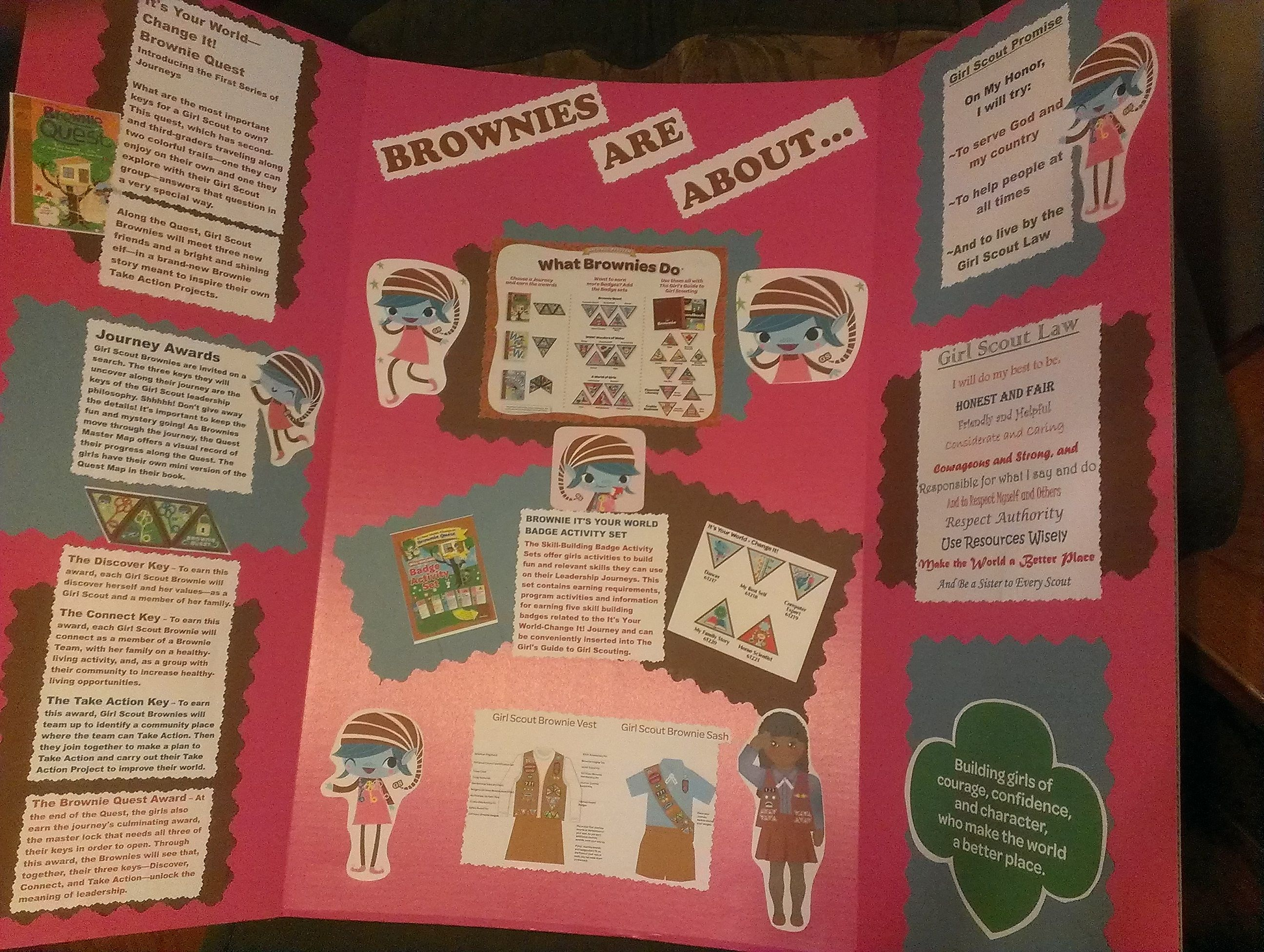 Pink Fold out Presentation Board with ALL Brownie info on it- including  Promise/Law, Girl's Guide, It's Your World-Change It, Journey; uniform  info, ...
