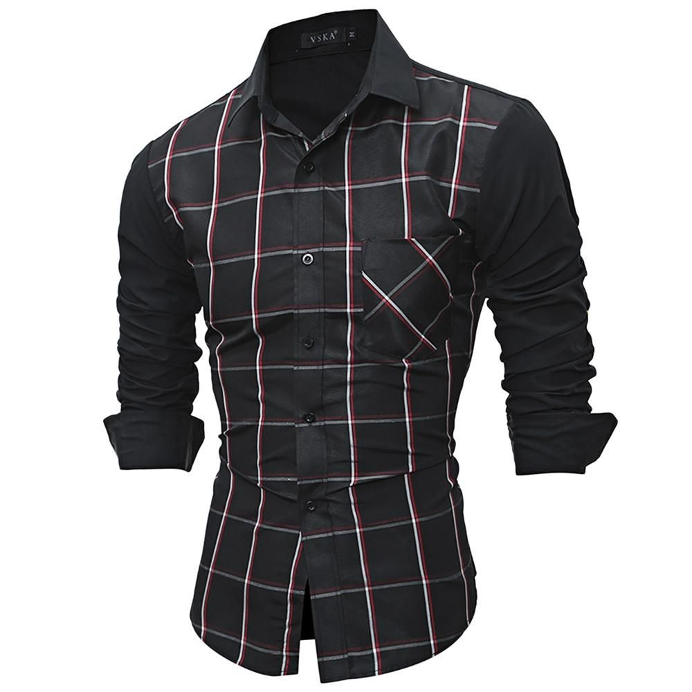 Cotton Long Sleeve Plaid Men Shirt for Dress Casual 5760