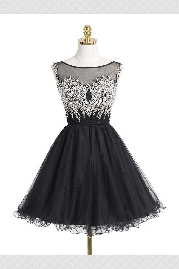 Custom Made Soft Black Black Crystal Beaded Homecoming Dress With