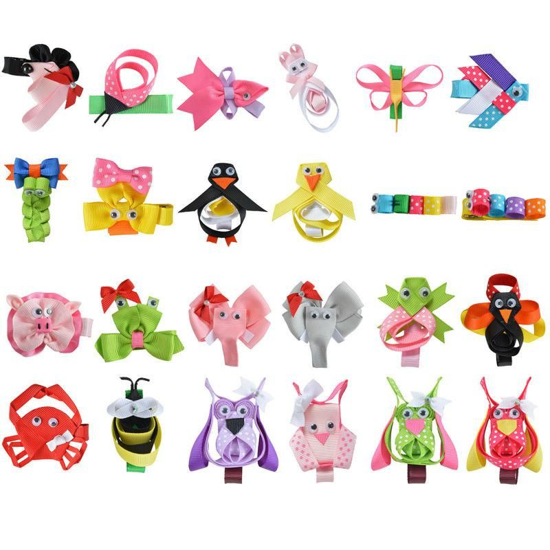 24pcs 2 2 5 Cute Tiny Hair Bows For Girls Bb Hairpin Kids Animal Ribbon Covered Hair Clips Diy Kawaii Anime Hair A Girl Hair Bows Girls Bows Ribbon Hair Clips