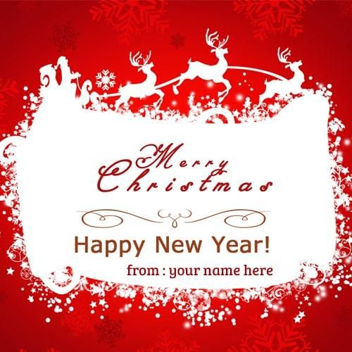 write name on merry christmas and happy new year wishes greeting ...