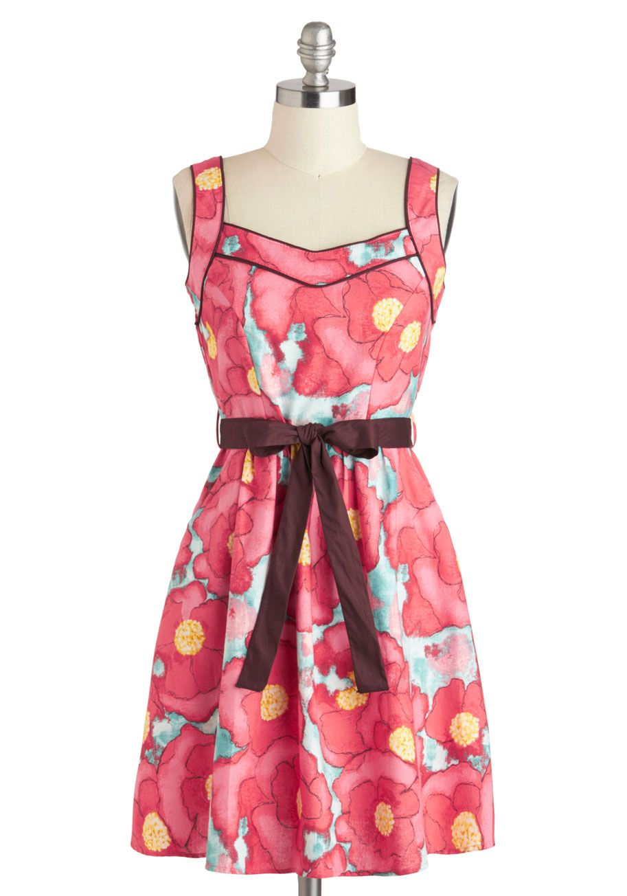 Daydreams and doodles dress floral midlength cotton pink