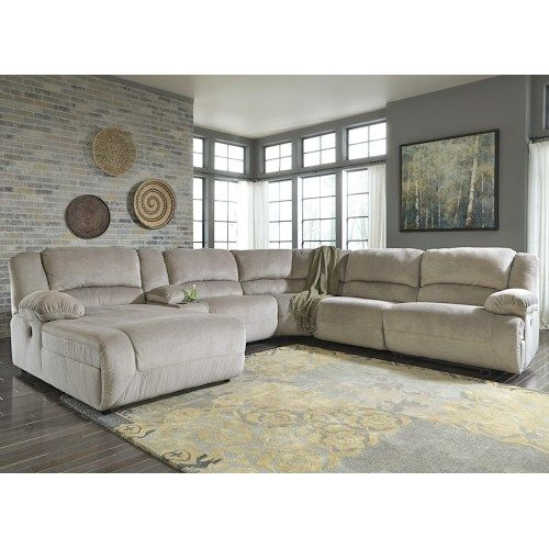 Power Reclining Sectional With Right Press Back Chaise By: Granite Power Reclining Sectional With Console