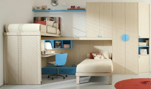 Trendy White Themed Joint Kidu0027s Bedroom Design With Study Area Under Bed  And Wooden Bunk Bed Design Also Minimalist Blue Wall Shelf For Charming  Joint Kidu0027s ...