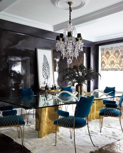 Eclectic Love The Gold Table Glass Top Turquoise Chairswould Extraordinary Black And White Dining Room Table Design Ideas