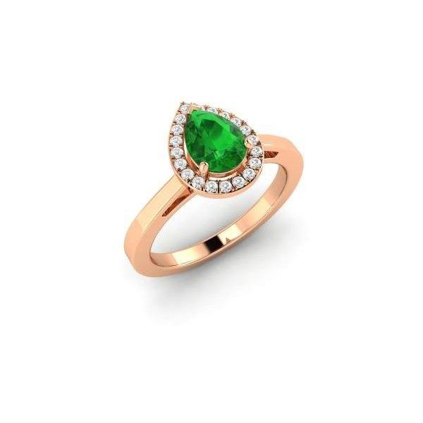 Diamondere Pear Cut Emerald VS Diamond 14k Rose Gold Halo Ring