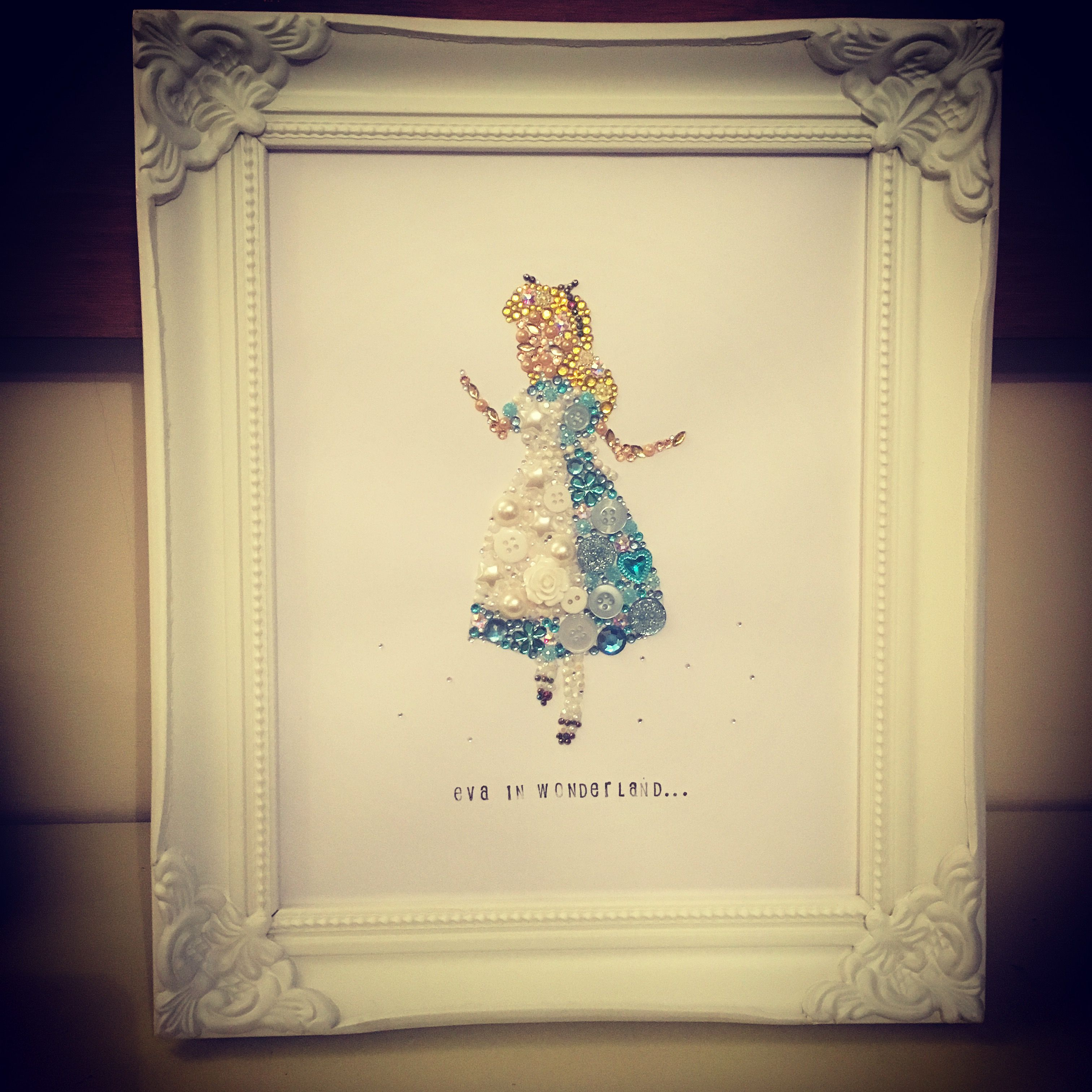 Alice in wonderland personalised button frame. Swarovski crystal and ...