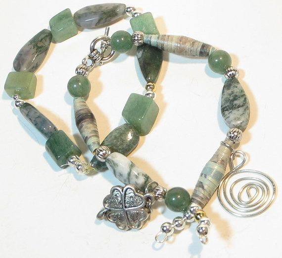 Green Stacking Gemstone Bracelets set of 2 by lindab142 on Etsy, $35.00