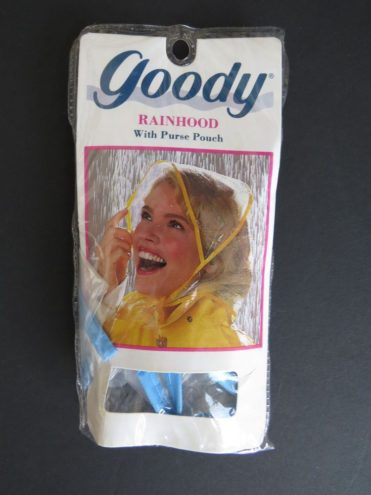 Retro Plastic Rain Hat by Goody - Vinyl Mod Rain Bonnet with Purse Pouch -  NOS  Goody  RainHat d1315734966