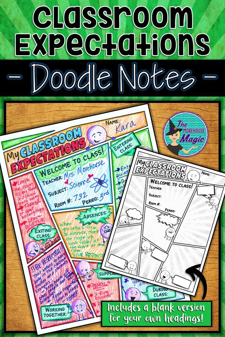 Back to school classroom rules & expectations doodle notes ...