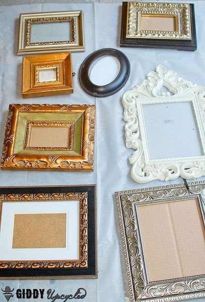 Gallery Wall Vintage Frames Spray Painted White French Chalk Paint