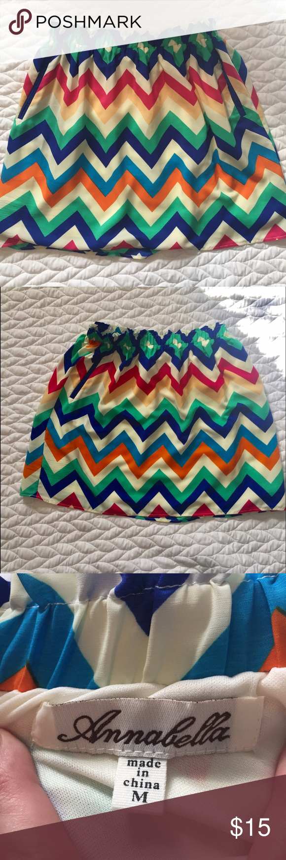 Colorful Chevron Annabella Skirt This skirt is adorable and could be worn with many different blouses. The pockets are faux. Annabella Skirts