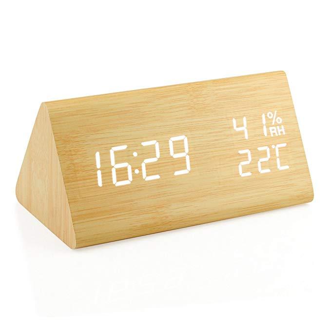 Amazon Com Oct17 Wooden Alarm Clock Wood Led Digital Desk Clock Upgraded With Time Temperature Adjustable Brightnes Desk Clock Desk Alarm Clock Alarm Clock