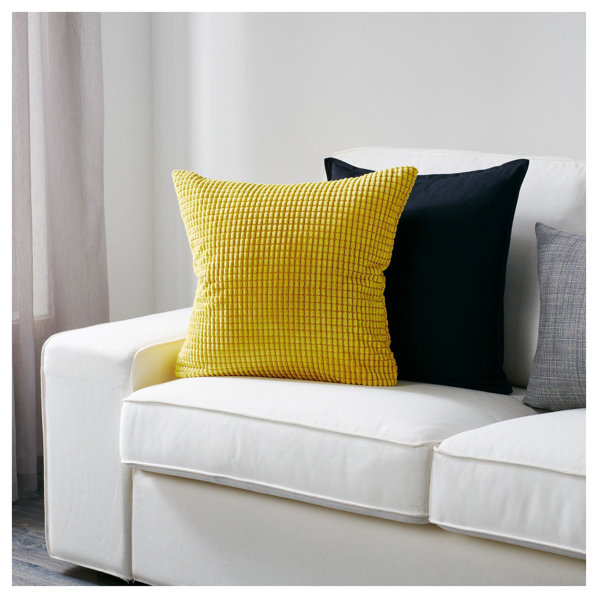 "GULLKLOCKA Cushion cover yellow 20x20 "" (50x50 cm"