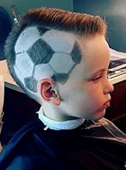 Young Fan With Soccer Ball Haircut Soccer Ball Soccer Young