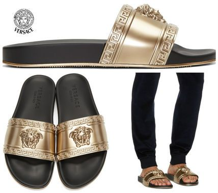 VERSACE gold Medusa Slide Sandals