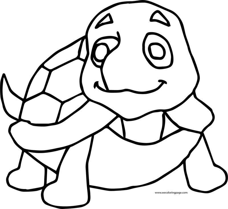 Cute Turtle Coloring Page di 2020