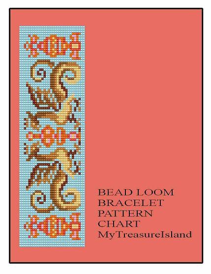 Bead Loom Antique Dragons Bracelet Pattern Chart PDF