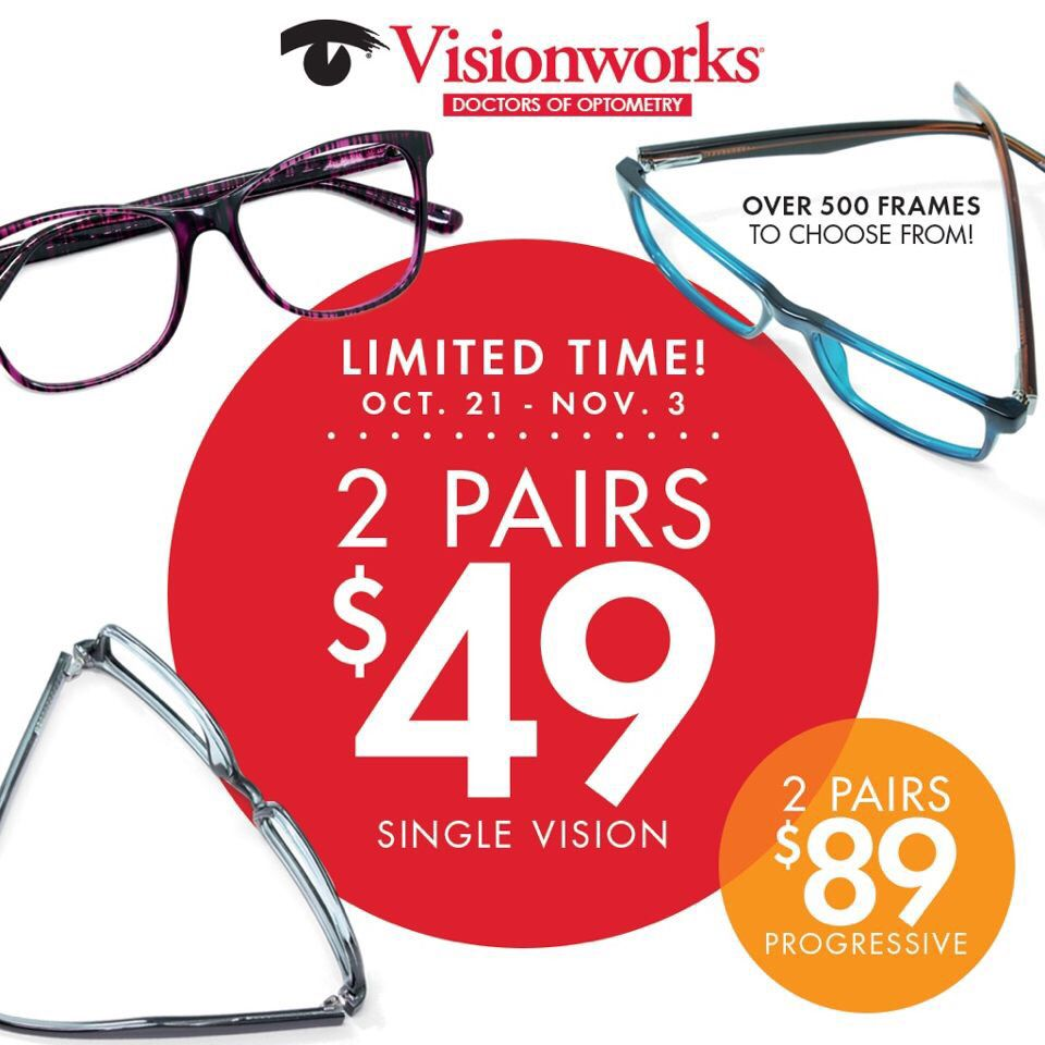 25ed79fb49 Visionworks 2 pair plastic lenses 2 frames!!!! 2  89 progressive lenses