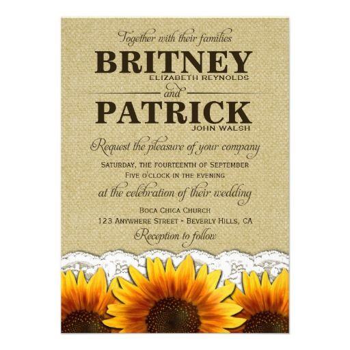 Burlap Country Sunflower Wedding Invitations found: http://www.zazzle.com/burlap_country_sunflower_wedding_invitations-161458634656081118?rf=238473901001614851