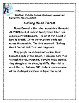 Worksheet Main Idea And Supporting Details Worksheets 1000 images about main idea on pinterest reading comprehension skills graphic organizers and common cores