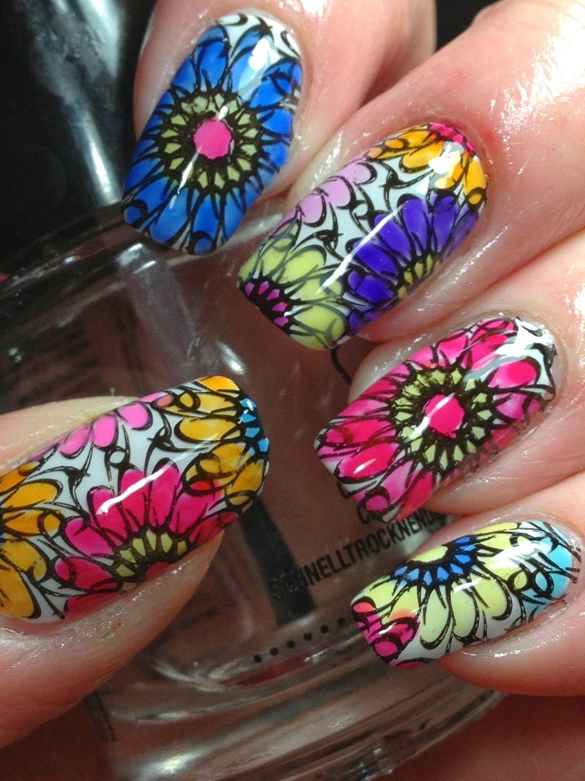 Lead Light Stamping Floral Nail Art Colorful Nail Designs Nail Designs