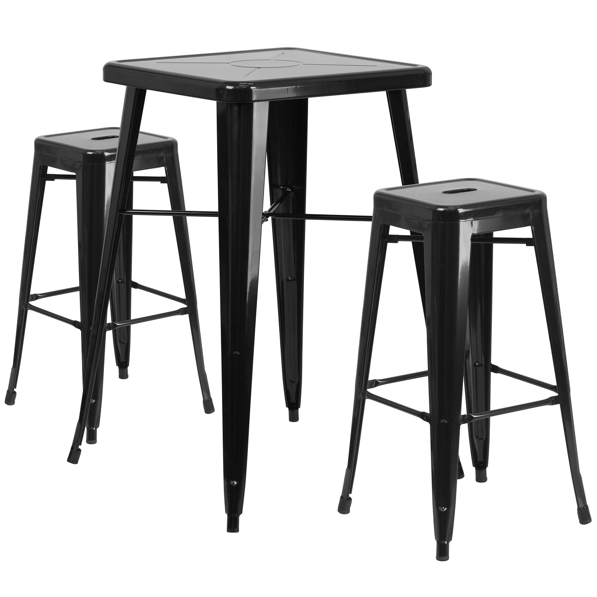 Set Of 3 Black Metal Square Bar Stools And Bar Height Table 40