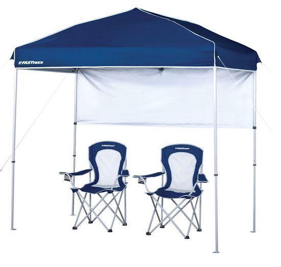 Outdoor Canopy 4 X 8 Tent Pop Up Beach Gazebo W Folding Chairs