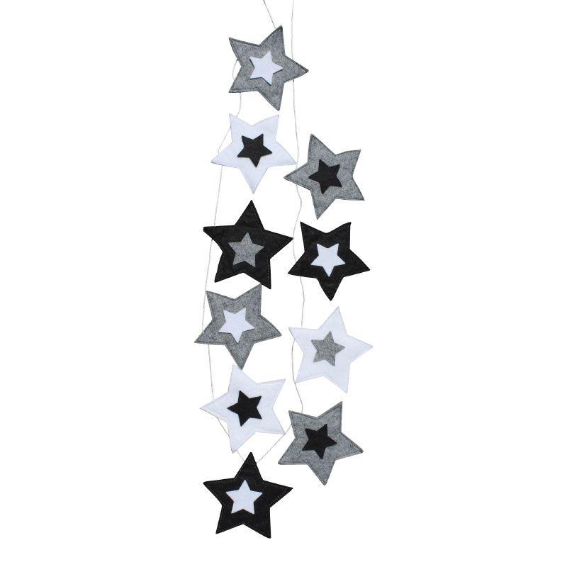 sterren slinger in grijs, zwart & wit ster zwart-wit decoratie, Deco ideeën