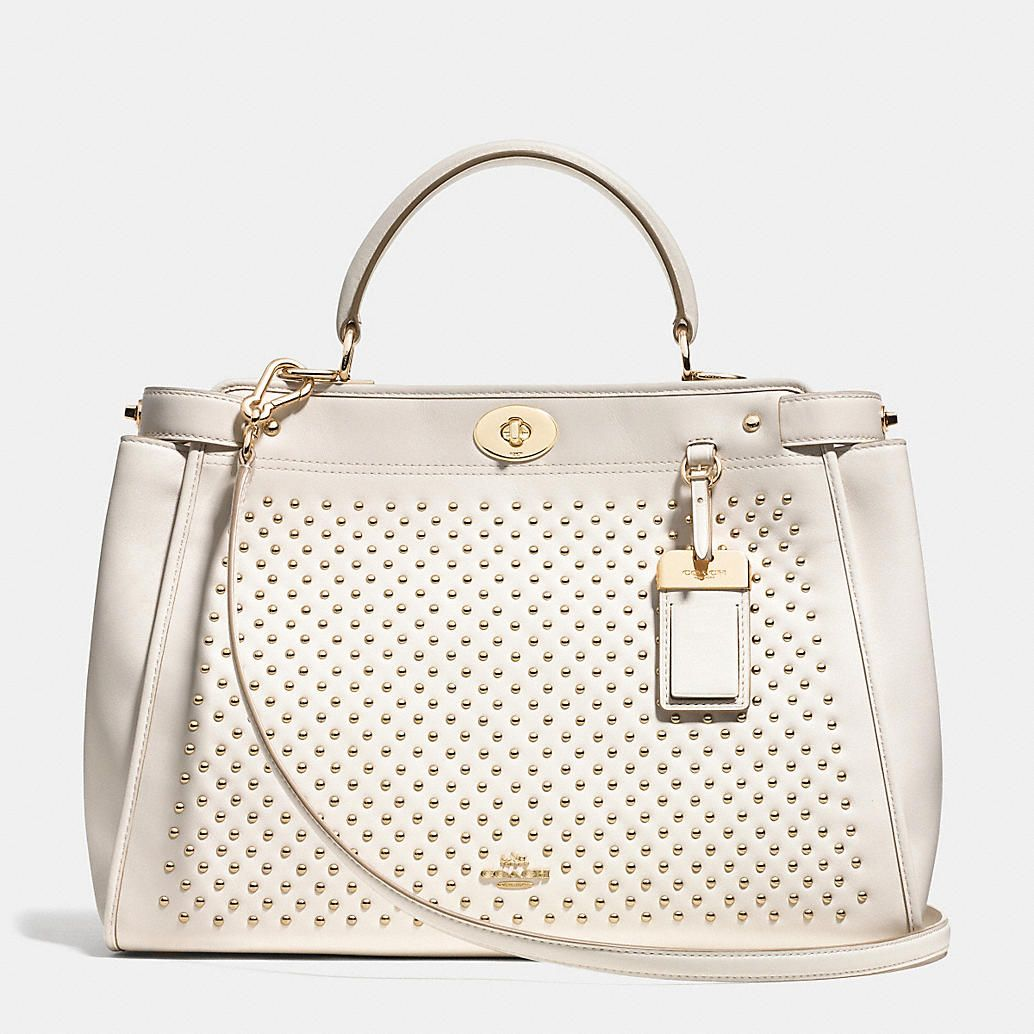 Coach Gramercy Satchel In Studded Leather White Purse Summer Bag